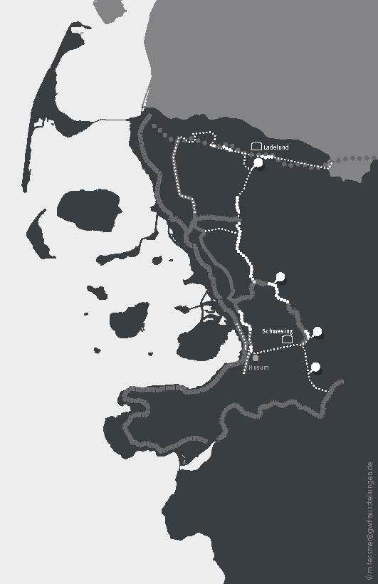 """Übersicht über den geplanten und rekonstruierten Verlauf des Friesenwalls Grafik auf Grundlage der Zeichnung """"Friesenwall und Riegelstellungen"""" von Klaus Bästlein sowie der Angaben von Rolf Grzywatz, Bredstedt 2015"""